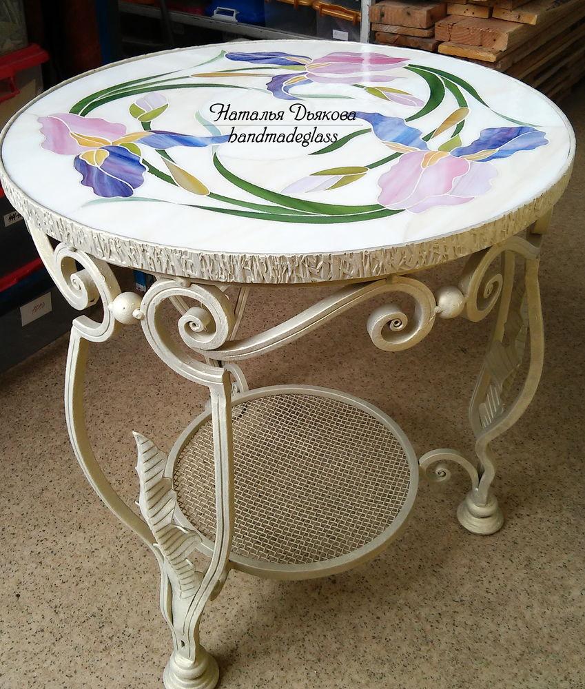 кованый столик, витраж, столик, столик прикроватный, мозаичная картина, для дома и интерьера, наталья дьякова