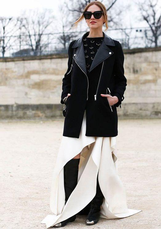 Как носить короткое платье с брюками