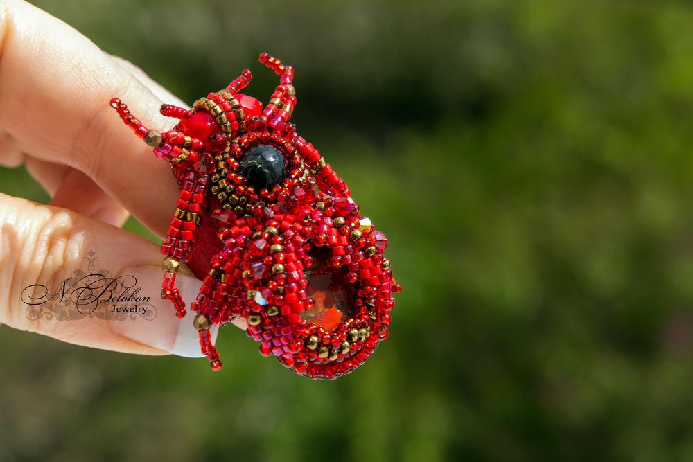 Огненный аммолитовый жучок колечко, фото № 13