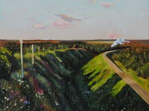 """Новая работа! Картина """"Поезд в пути"""" по мотивам Левитана. Ярмарка Мастеров - ручная работа, handmade."""