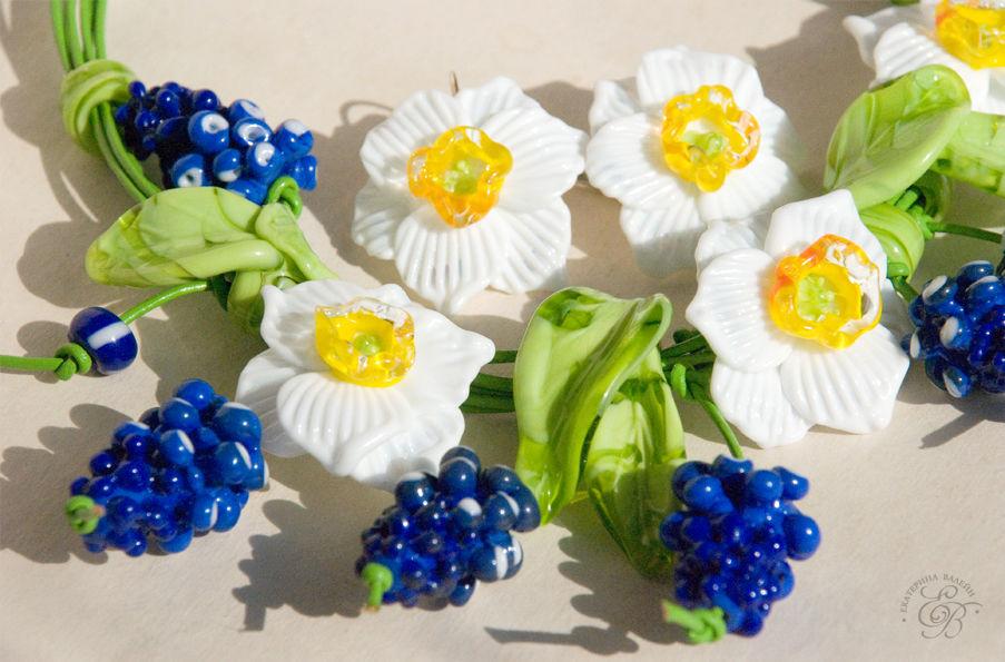 стекло, украшения из стекла, весна, мускари, стеклянные цветы