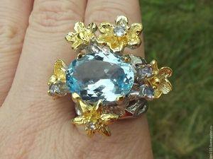 Скидка 25%. Кольцо  «Неабудка»  с голубым топазом. Ярмарка Мастеров - ручная работа, handmade.