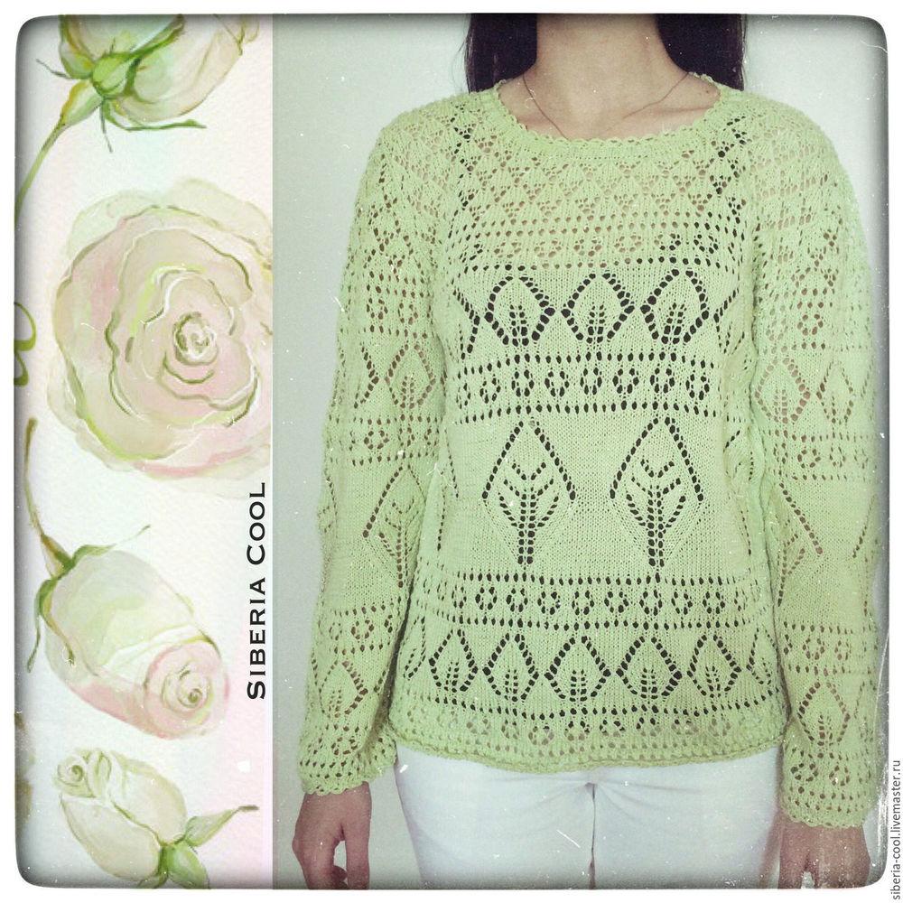 летний свитер, свитер для лета, зеленый, вязаный свитер