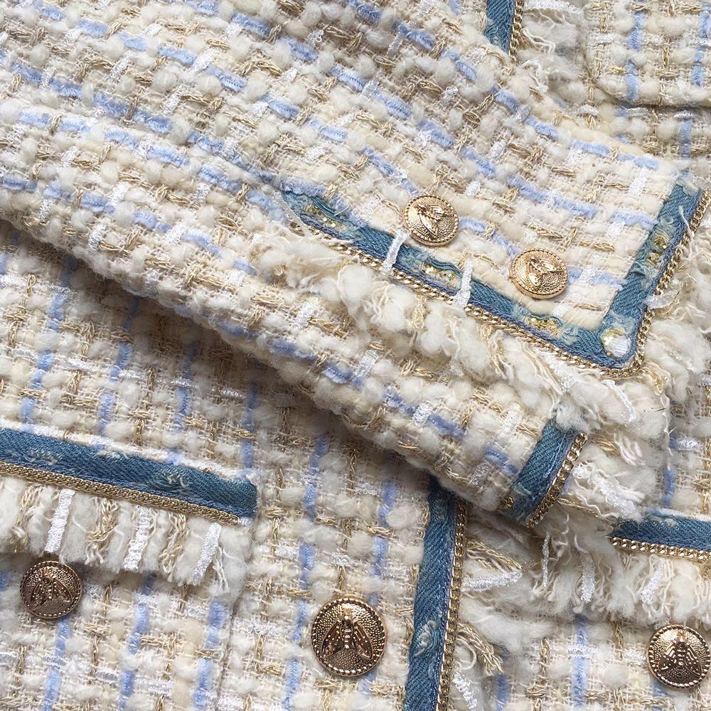 жакет под джинсы, стиль шанель, жакет из твида, бежевый жакет
