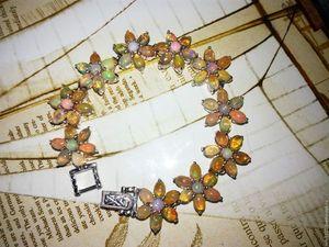 """Скидка 20% Роскошный браслет """"Огненный цветок"""" с опалами Эфиопии. Ярмарка Мастеров - ручная работа, handmade."""