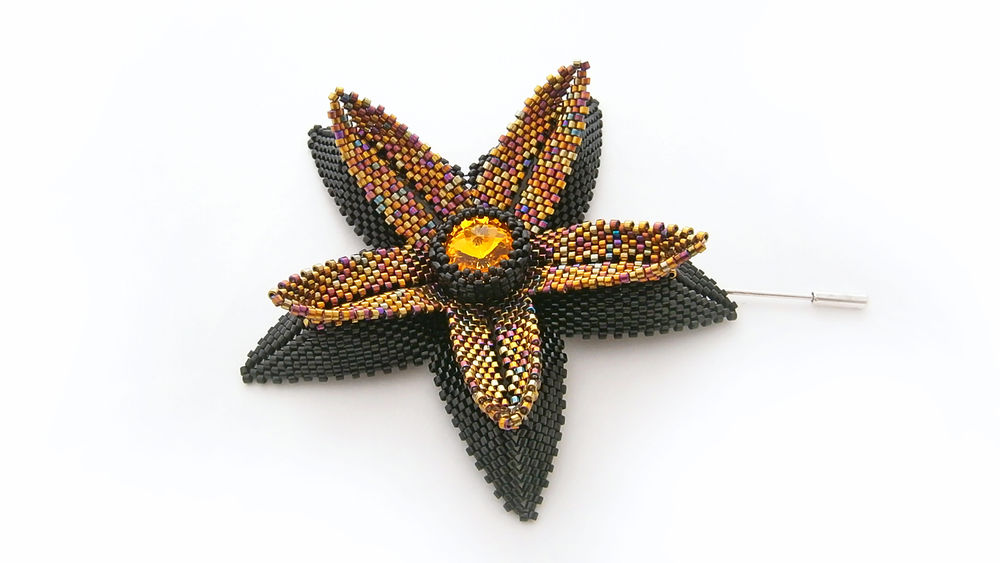 украшения из бисера, брошь, черный, jewelry, handmade jewelry, brooch