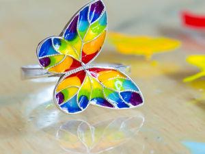 Как накладывать холодную эмаль: создаем красочное кольцо «Бабочка». Ярмарка Мастеров - ручная работа, handmade.