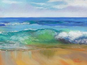 Рисуем морскую волну сухой пастелью на наждачной бумаге. Ярмарка Мастеров - ручная работа, handmade.