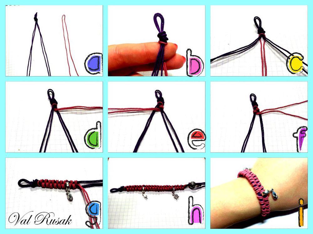 Как сделать браслет из шнурков своими руками схема 41