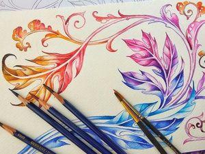 Акантовые листья - рисуем акварельными карандашами. Ярмарка Мастеров - ручная работа, handmade.