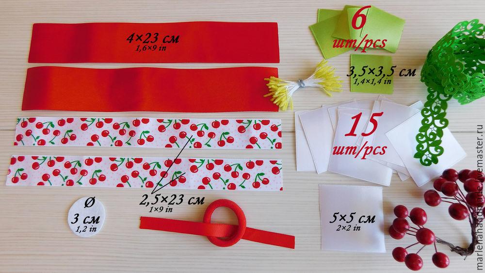 бантик, цветы канзаши, цветы ручной работы, канзаши, вишневый, украшение для волос, мастер класс