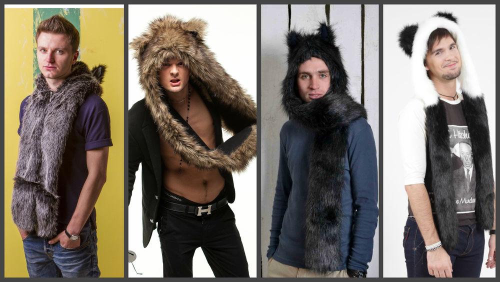 волк, шапка с ушками