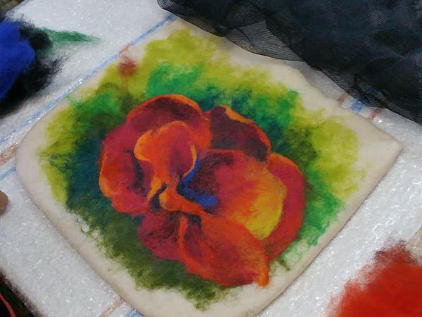 Картина или маленькая сумочка в технике Шерстяная акварель (по мокрому) | Ярмарка Мастеров - ручная работа, handmade