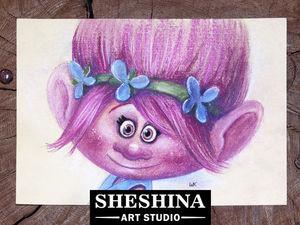 Видеоурок: как нарисовать Принцессу Розочку из мультфильма «Тролли» сухой пастелью. Ярмарка Мастеров - ручная работа, handmade.