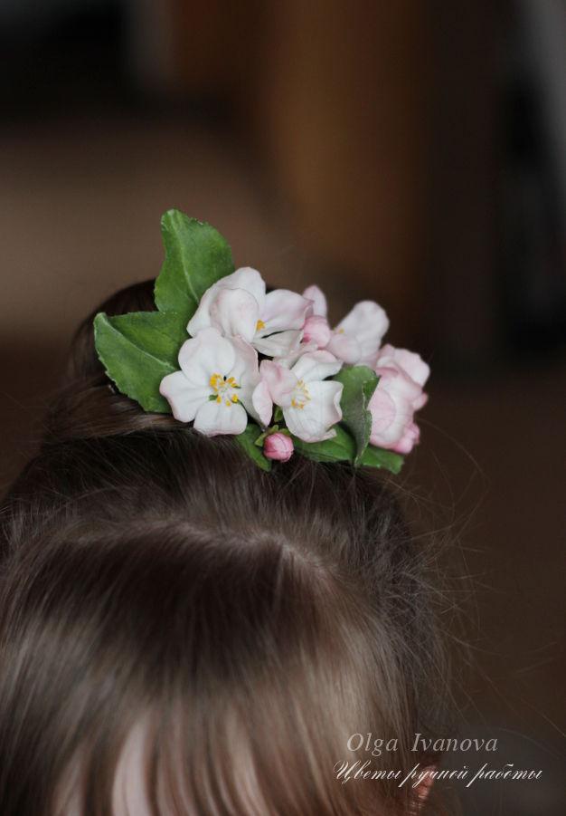 яблоневый цвет, весна, цветы в прическу, украшение для волос, свадебные украшения, полимерная глина, керамическая флористика