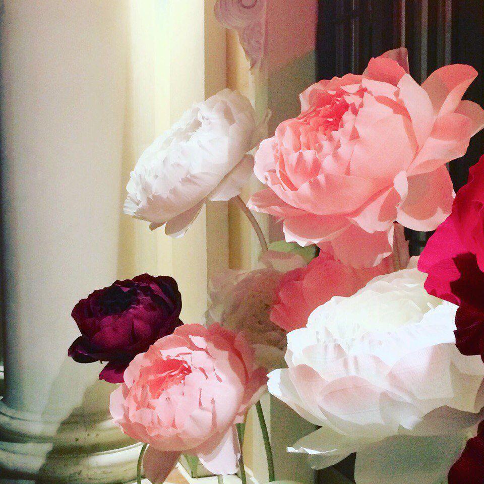 цветы из бумаги, пион из бумаги, подарок
