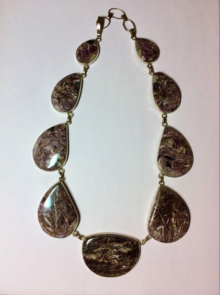 чароит в серебре, колье и серьги, бусы из камней
