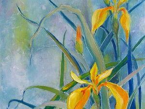 "Аукцион картина маслом ""Желтые ирисы!"" 30х50. Ярмарка Мастеров - ручная работа, handmade."