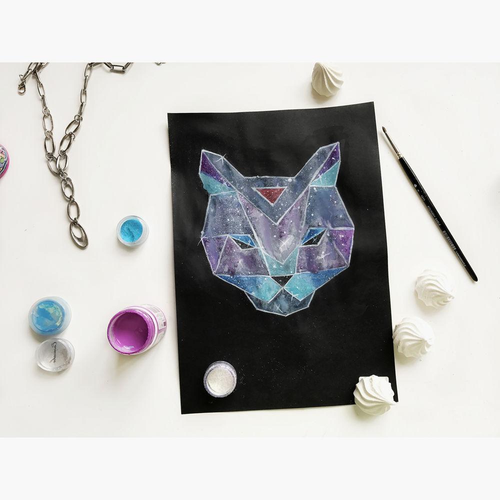 геометрический узор, космический кот, кожаная сумка с рисунком, экокожа, рисунок кот