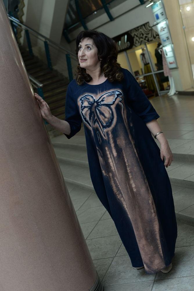 платье из льна, лен, нарядное платье, ручная роспись, бохо шик