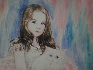 Девочка с котиком. Ярмарка Мастеров - ручная работа, handmade.