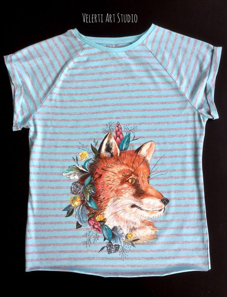 аукцион, аукционы, футболки, футболка женская, в полоску, лиса, лисички, рыжая лиса, одежда, для девушки