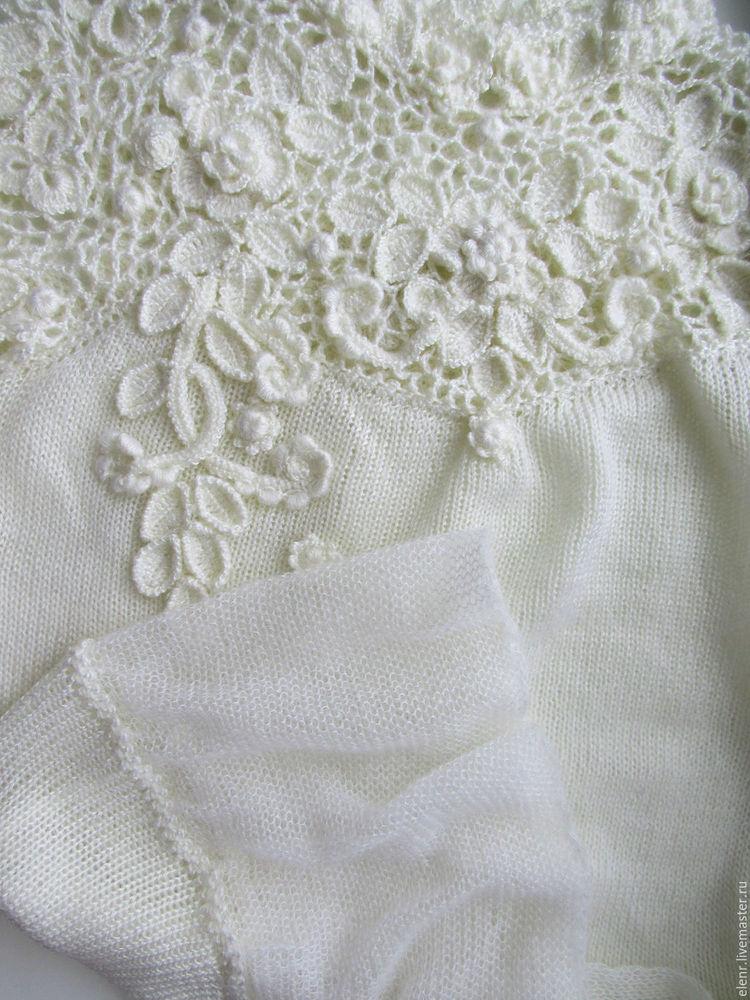 ирландские кружева, блуза из мохера, зимнее кружево