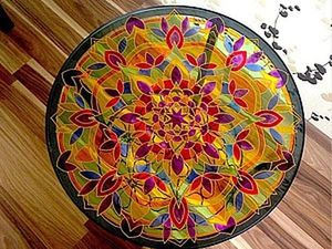 An Example of Decorating a Coffee Table with a Stained Glass Pattern. Livemaster - handmade