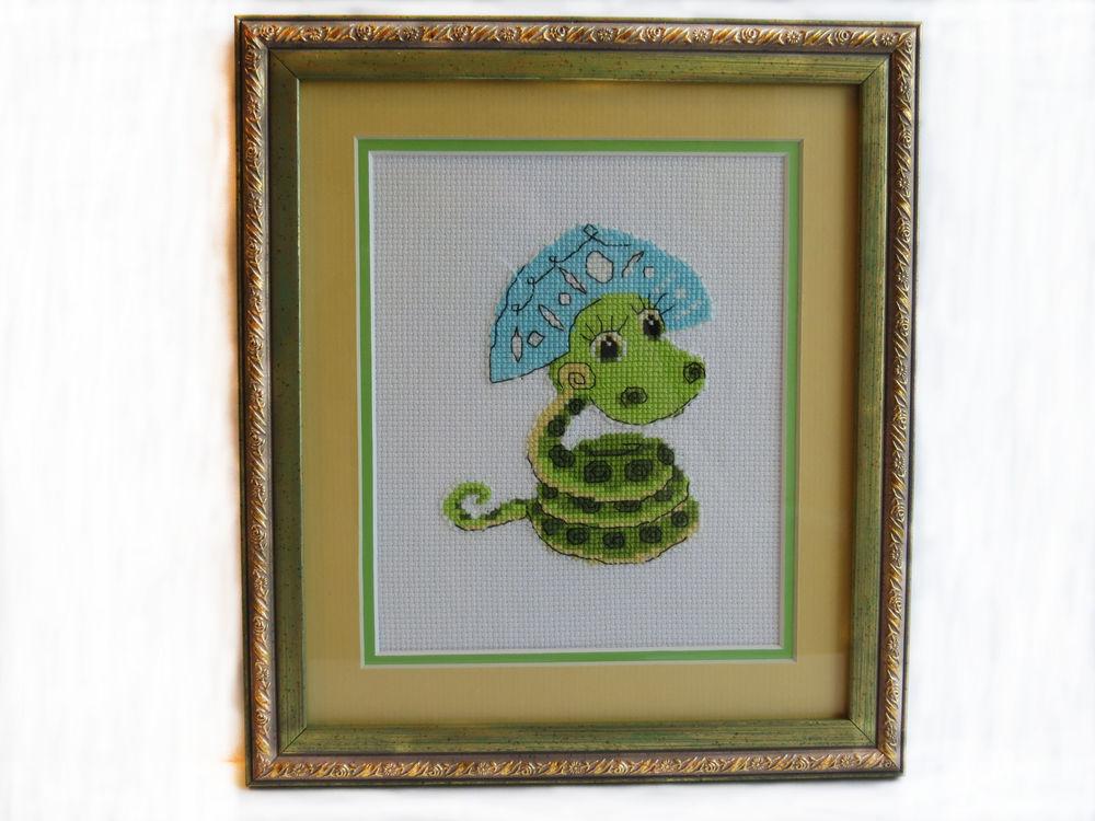 картина для интерьера, картина с животными, змейка, вышитая картина