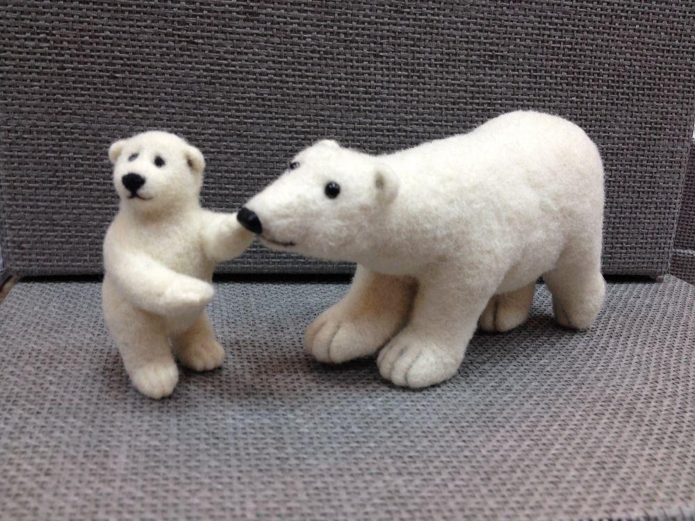 сухое валяние игрушки, мастер-класс по валянию, бугрова жанна, белый медведь, умка, медведица