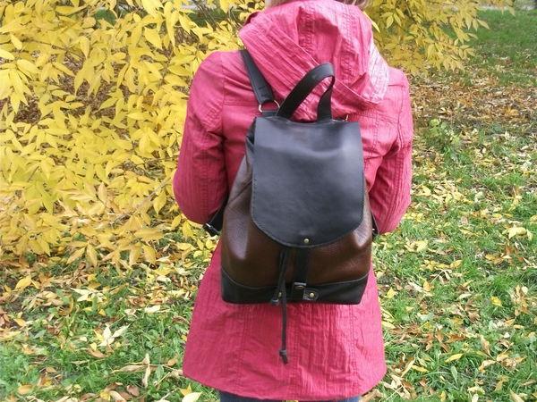 Рюкзак из кожи Savanna Espresso 2 Черно-коричневый | Ярмарка Мастеров - ручная работа, handmade