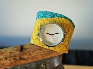 Создаем часы на широком ремне из кожи рыбы. Ярмарка Мастеров - ручная работа, handmade.