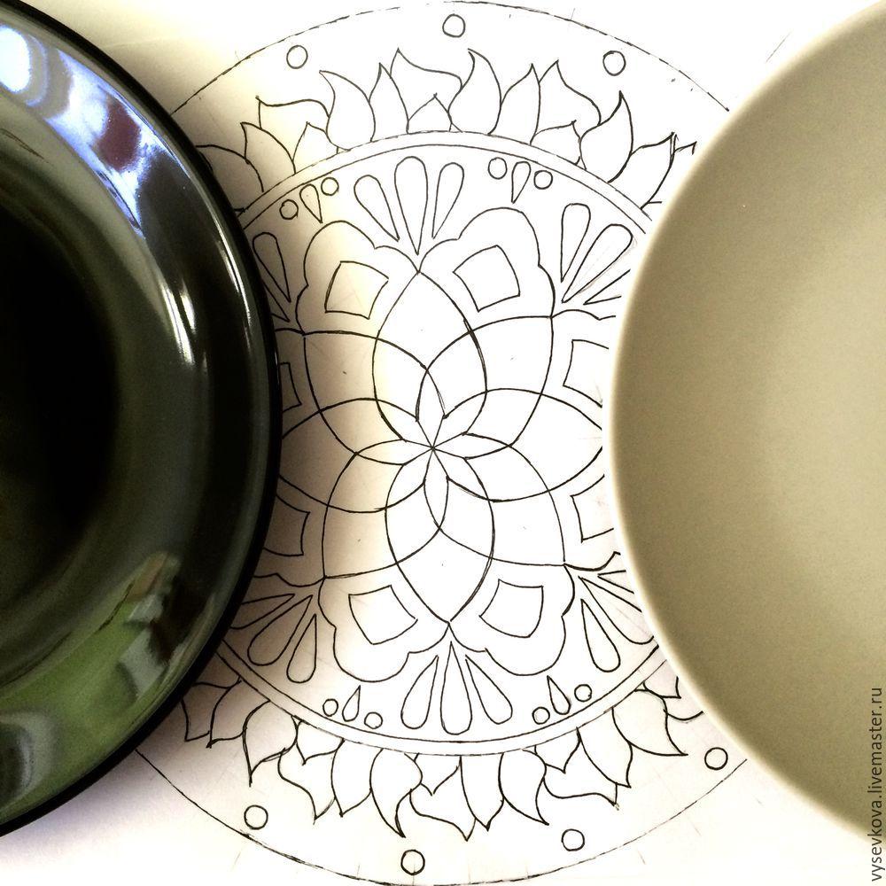 перенос рисунка, декор тарелки