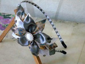 Создаем ободок канзаши с большим цветком из атласных лент: видеоурок. Ярмарка Мастеров - ручная работа, handmade.