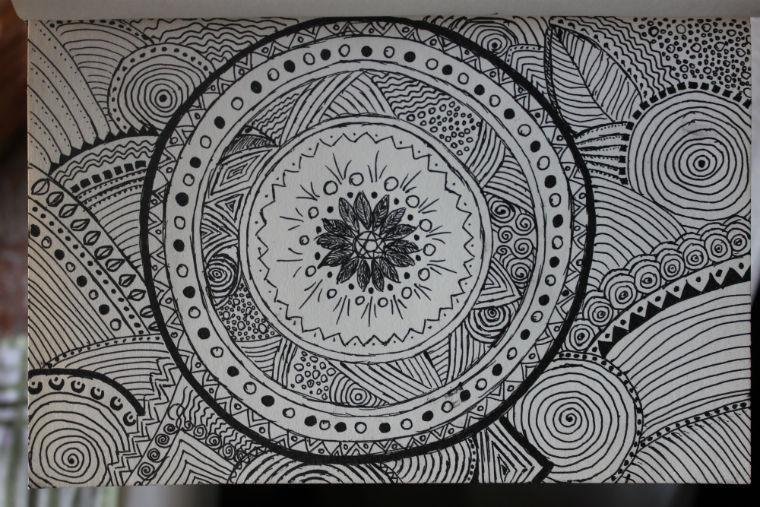 рисунок, графика, зентангл, мандала, антистресс, гелевая ручка