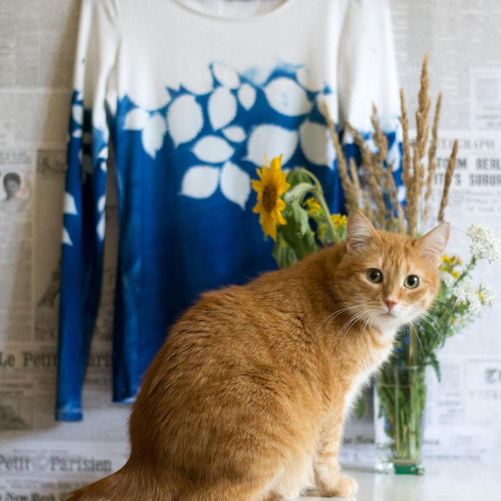 цианотипия, экопринт, окраска футболки, печать на ткани, рисунок на футболке, синий, кот