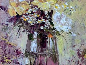 """Картина маслом """"Букет роз в прозрачной вазе"""" со скидкой 10%!. Ярмарка Мастеров - ручная работа, handmade."""