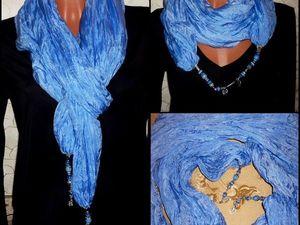 Товар дня!!!Шёлковый палантин Батик Море большой объемный шарф Натуральный шёлк. Ярмарка Мастеров - ручная работа, handmade.