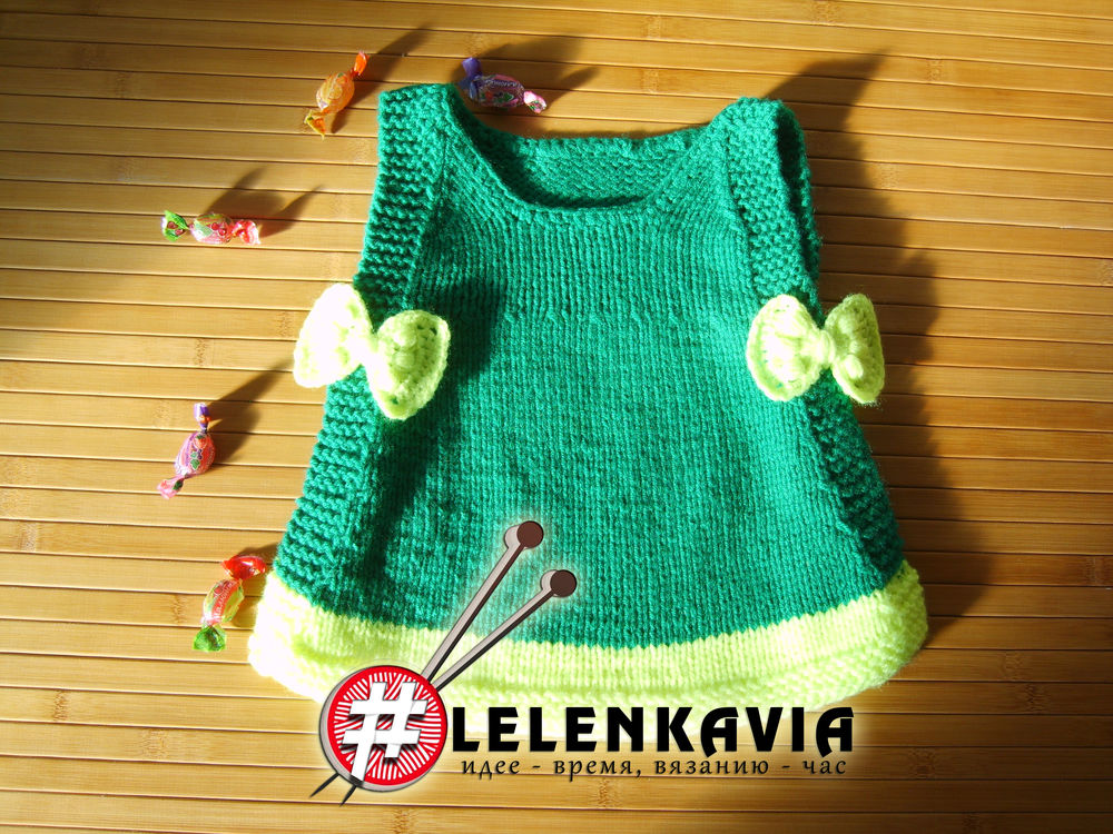 подарки детям, вяжем спицами, платье