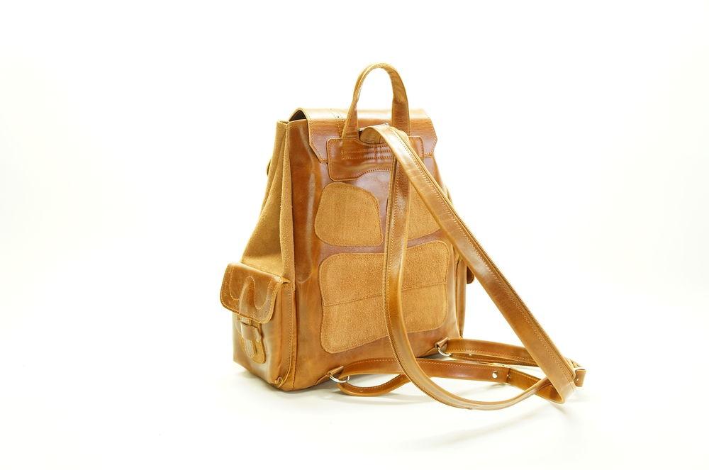 кожаный рыжий рюкзак