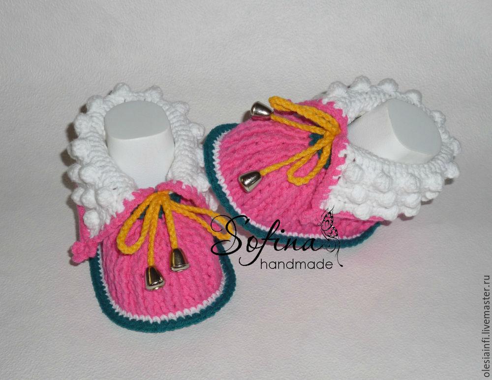 пинетки, пинетки вязаные, пинетки ботиночки, для девочки, мастер класс