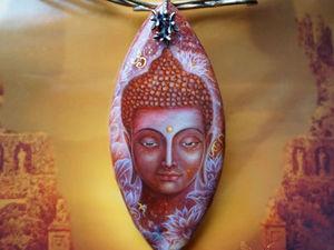 """Кулон с росписью """"Рубиновый Будда"""" лаковая миниатюра на камне (видео). Ярмарка Мастеров - ручная работа, handmade."""