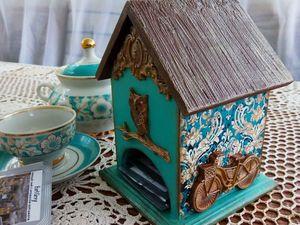 Аукцион на бирюзовый домик для чайных пакетиков. Ярмарка Мастеров - ручная работа, handmade.