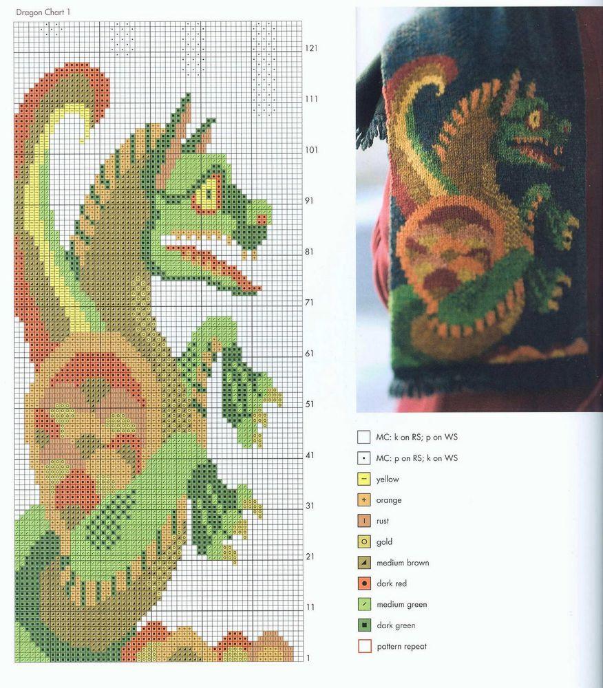 схема вышивки детских драконов
