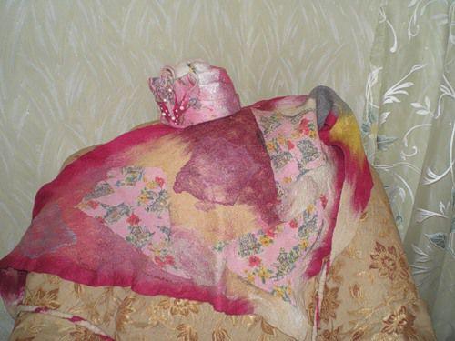 мокрое валяние, платок, подарок