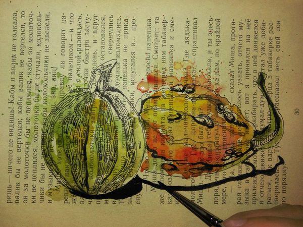 Скетч Декоративные тыквы акварелью и тушью | Ярмарка Мастеров - ручная работа, handmade