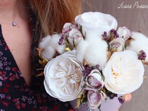 Video Tutorial: How to Make a Floral Arrangement of Cotton Bolls, Oregano, and Paper Roses. Livemaster - handmade