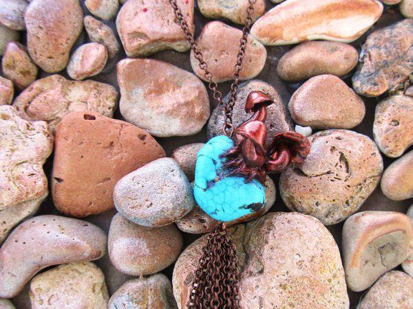 Кулон из полимерной глины и бирюзы   Ярмарка Мастеров - ручная работа, handmade