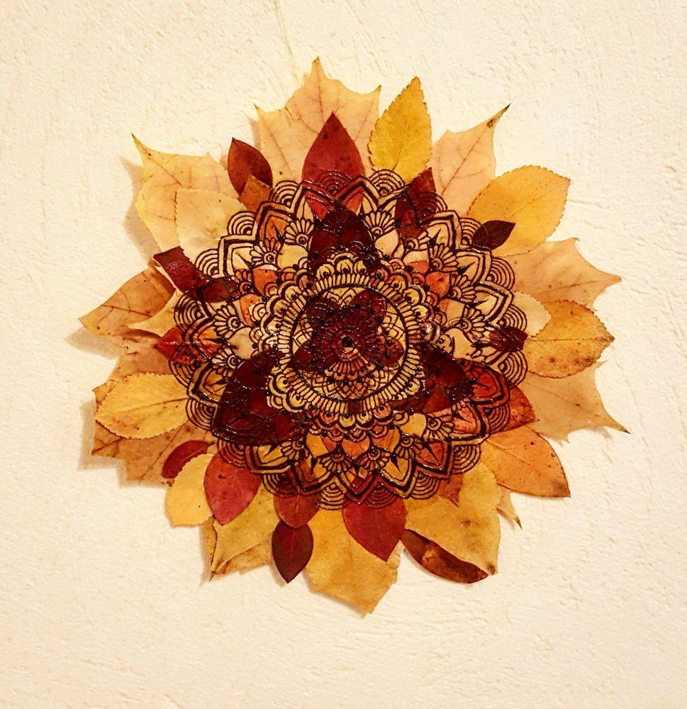 Идея для вдохновения: роспись осенних листьев в стиле мехенди., фото № 8