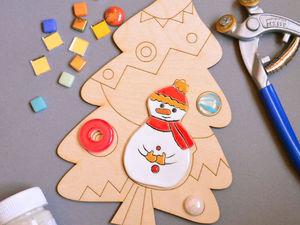 Придумай мозаику на тему Снеговик под елкой. Ярмарка Мастеров - ручная работа, handmade.